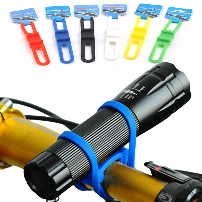 Road <font><b>Bike</b></font> Handlebar Mount Support <font><b>Lamp</b></font> Stand <font><b>Cycling</b></font> Elastic Silica Gel Bandage <font><b>Bicycle</b></font> <font><b>Headlight</b></font> Flashlight <font><b>Torch</b></font> <font><b>Light</b></font> Holder image