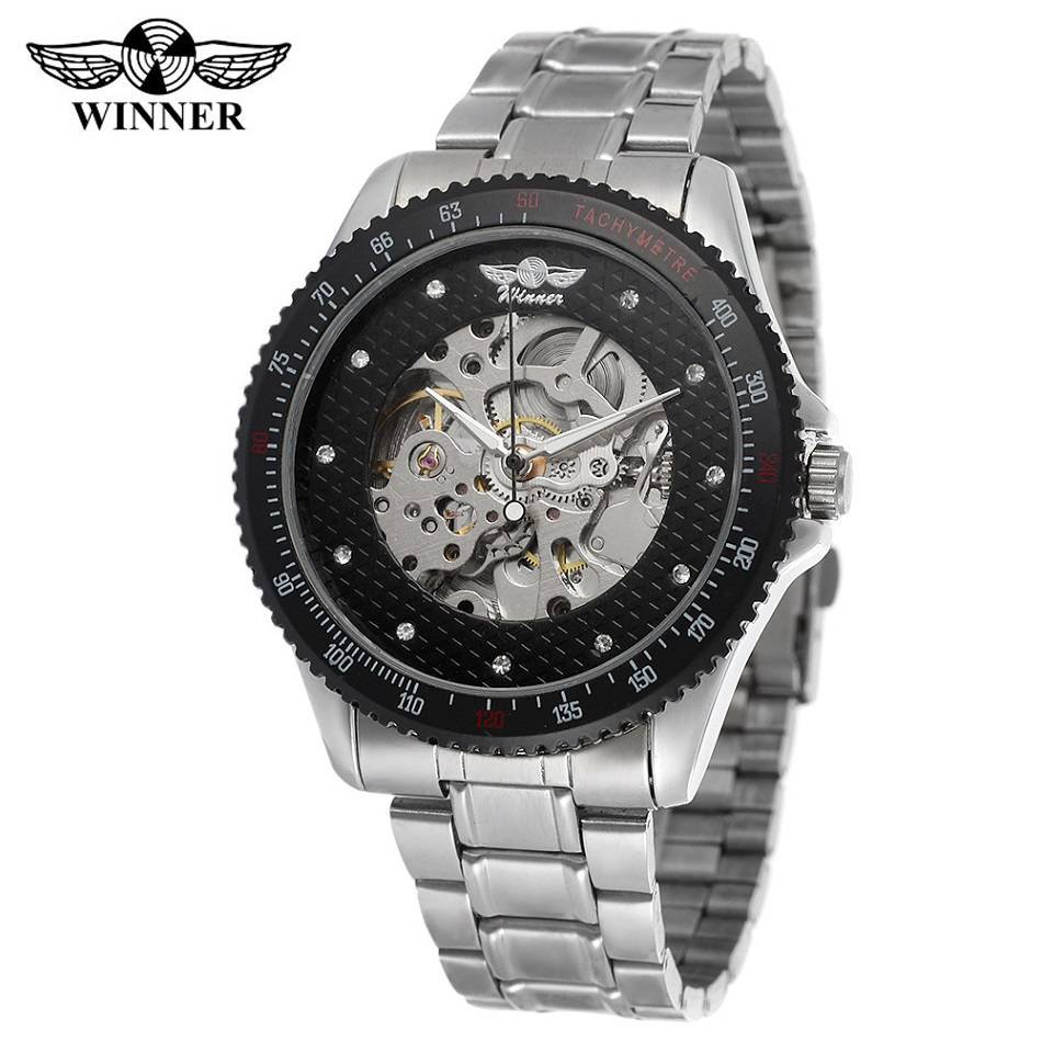 Winner Genuine Mens Watches Top Brand Luxury Full Hollow Men Watch Stainless Steel Strip Automatic Mechanical Wristwatch Relogio top brand luxury mens mechanical watches parnis 41mm full stainless steel automatic watch men rotating bezel luminous wristwatch