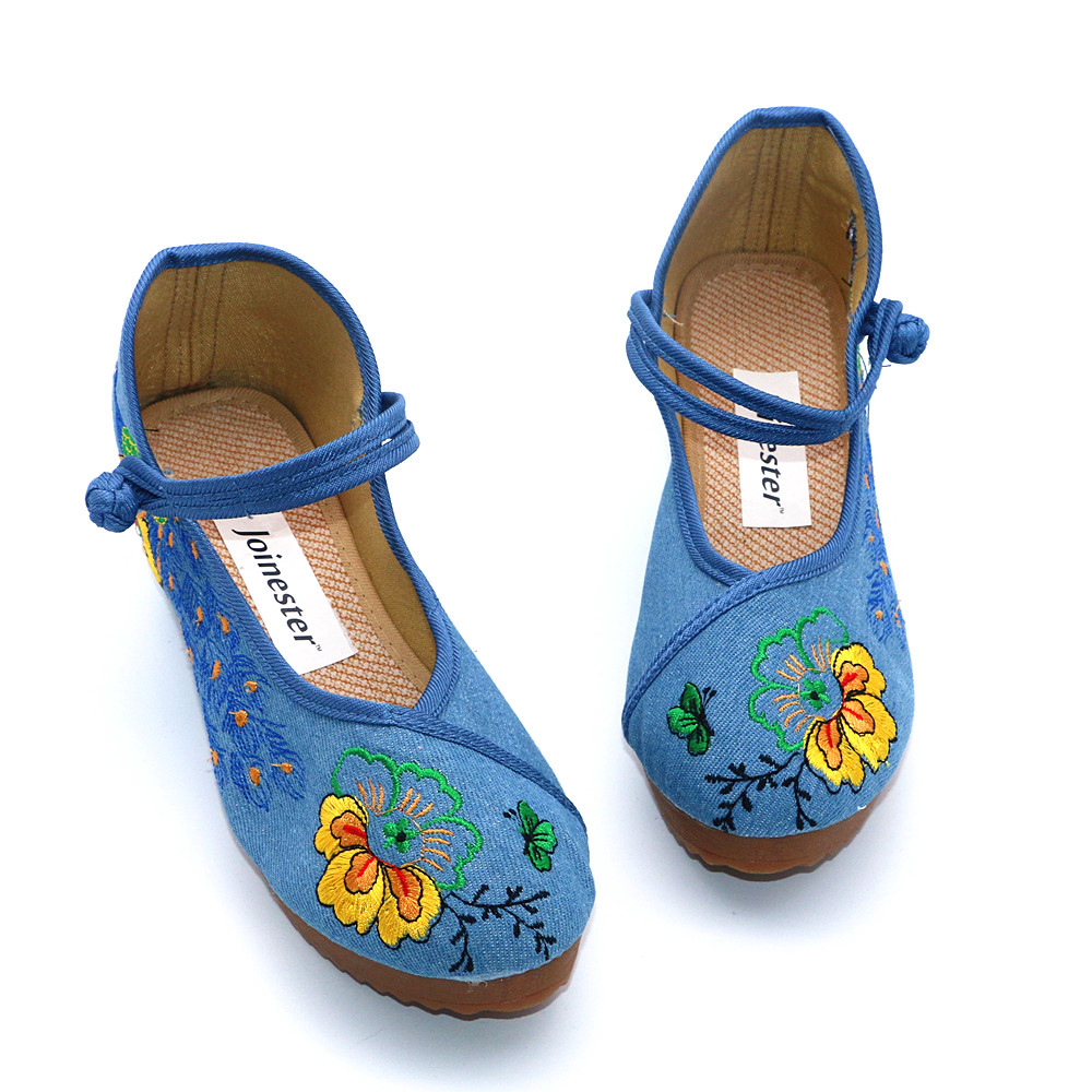 Floral Mary Dames Jane Talons Dacing Femmes forme Ethnique Toile Beige Pour black Plate Pompes Occasionnels blue Bouton Brodent Cales Hauts Chaussures wx6qBn4IIC