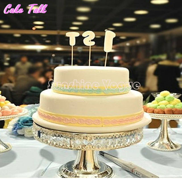 Online Shop Crystal bead silver plated metal cake stand 12\'\' high ...