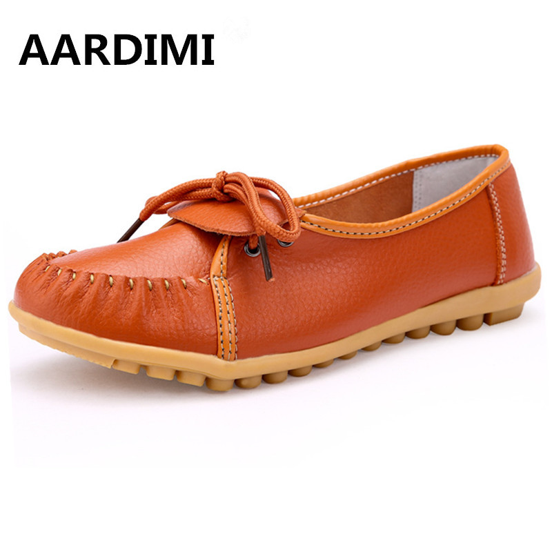 Women s Casual Shoes Genuine Leather Woman Loafers Slip On Female Flats Moccasins Ladies Driving Shoe