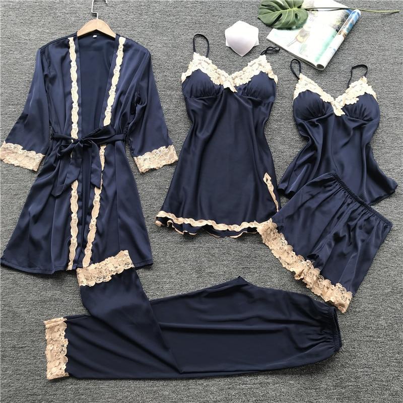 5 PIECE Pajamas For Women Bathrobe Set Pants Shorts Nightwear Women Clothing Sexy Silk Stain Lace Lingerie Pijama Pyjamas Women