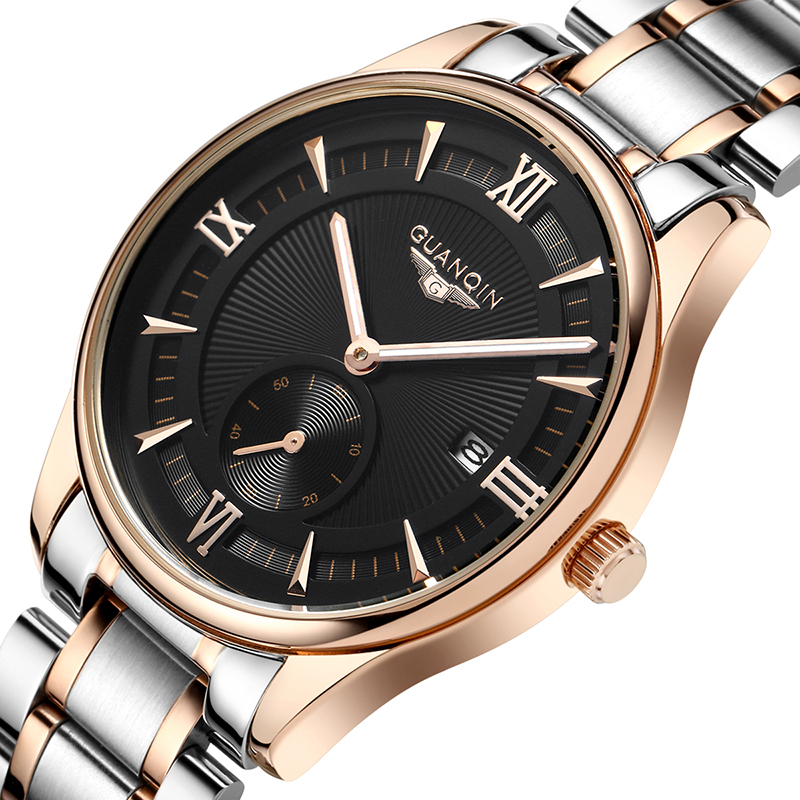 ФОТО GUANQIN Fashion Casual Mens Watches Top Brand Luxury Leather Stainless Steel Quartz Watch Men Waterproof Wristwatches Date Clock