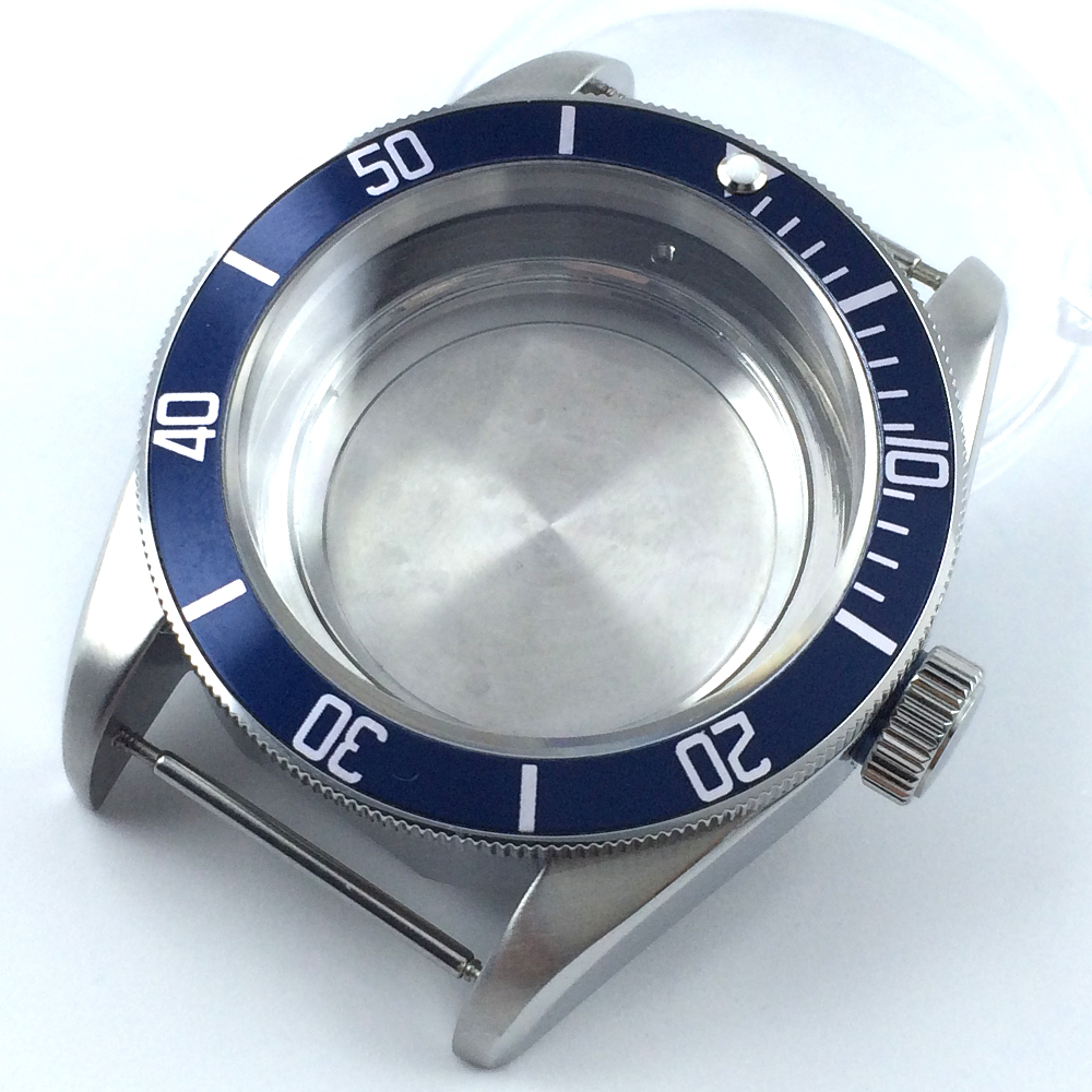 41mm blue insert sapphire cystal Watch Case fit ETA 2824 2836 MOVEMENT цена и фото