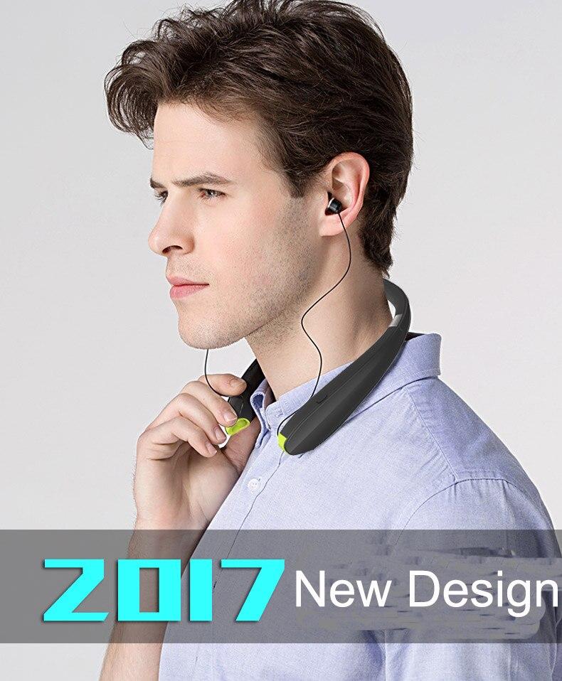 Suicen SX-990 Mâchoires Sport Bluetooth Casque de Course Rétractable et Pliable Neckband Bluetooth Écouteurs avec Microphone
