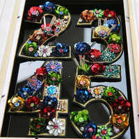 Number 3D Beaded Embroidered Patches for Clothing Sequins Applique Parches Clothes Shoes Pictures By Numbers Sewing On Patch
