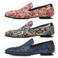 New Fashion Designer Homens Sapatos Mocassins Deslizar sobre Flats Britânico Mens Chinelos Respirável Dos Homens de Impressão Partido Paillette Sapatos Casuais