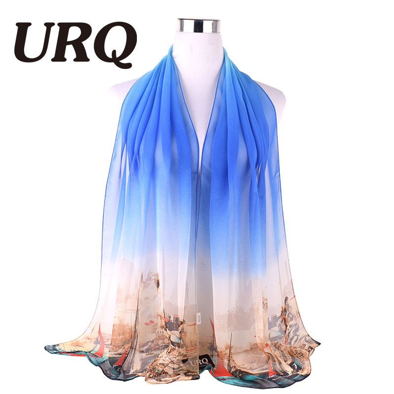 summer scarves Women solid color Long style fashion Brand Designed Trendy Warm Soft Gradual Lady scarf Accessories