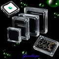 4 Size Acrylic Clear Gem Stone Display Showcase Organizer Momery Pad Ring Necklace Pendant Carrying Casket Package Box 6pc/lot