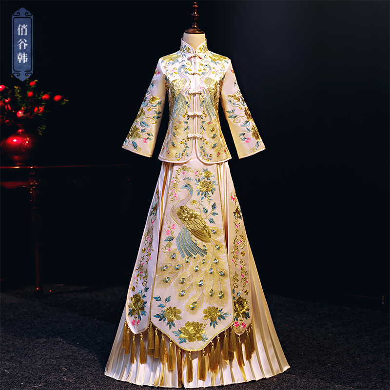 New Chinese Embroidery  Wedding Dress Bride's Wedding Dress Thickening Cheongsam Champagne Autumn and Winter