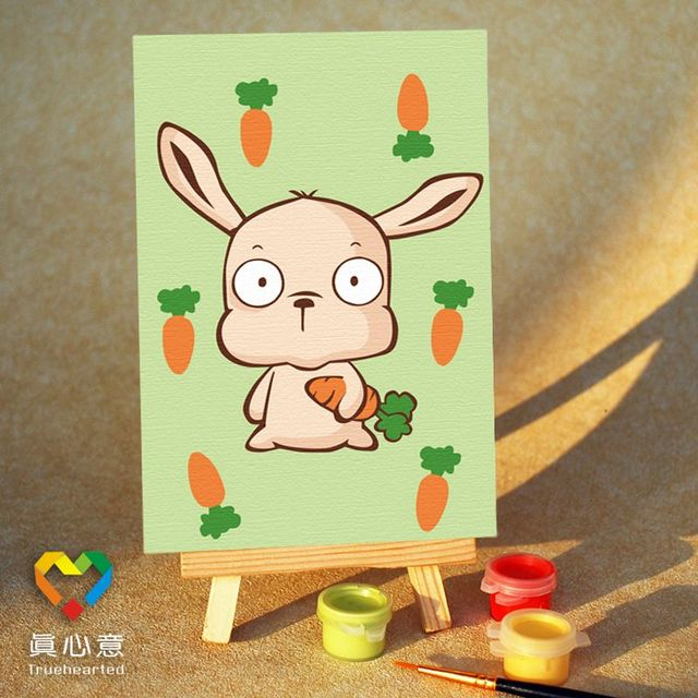 Diy digital oil painting cartoon oil painting zodiac - rabbit 10 15 mini painting belt easel