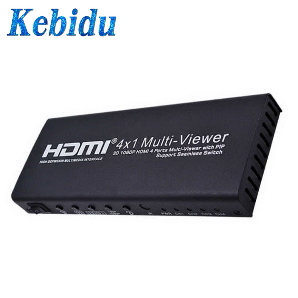 kebidu Video Signal 3D 1080P HDMI 4 Ports Multi Viewer with PIP Support Seamless Switching Output
