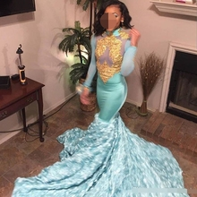 2019 Sexy big train Mermaid Prom Dresses Gold Lace Appliques High Neck Long Sleeves african Evening dress 3D Floral Formal gown