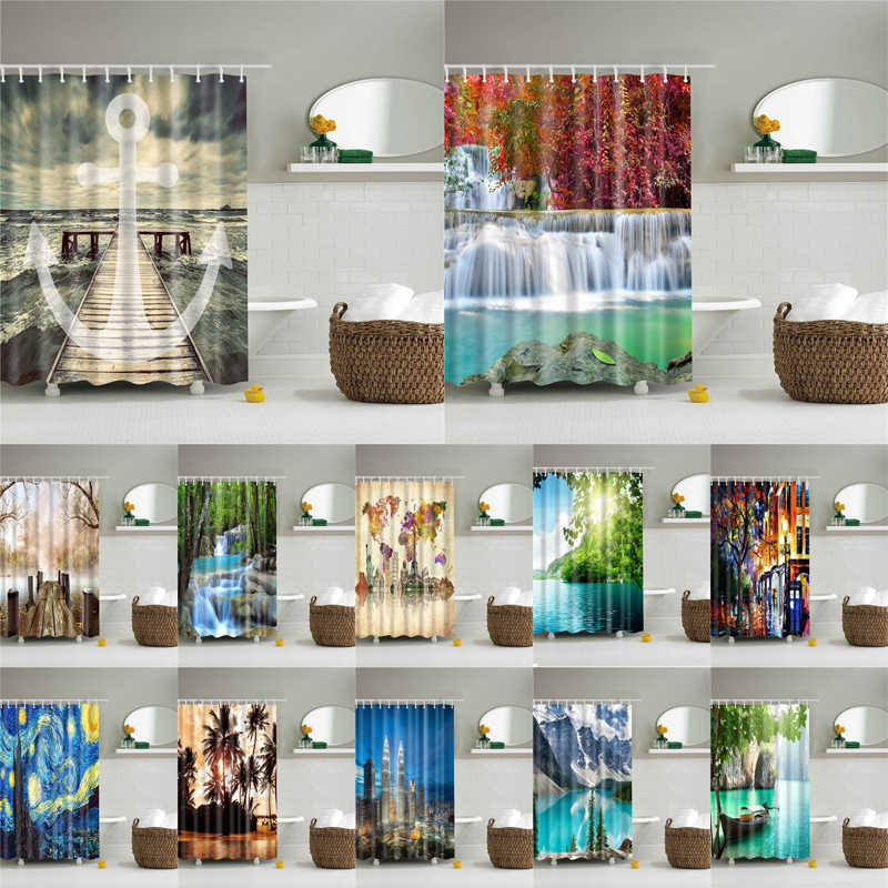 Landscape Print 3d shower curtain set with hooks waterproof curtain for bathroom decoration polyester fabric cortina ducha
