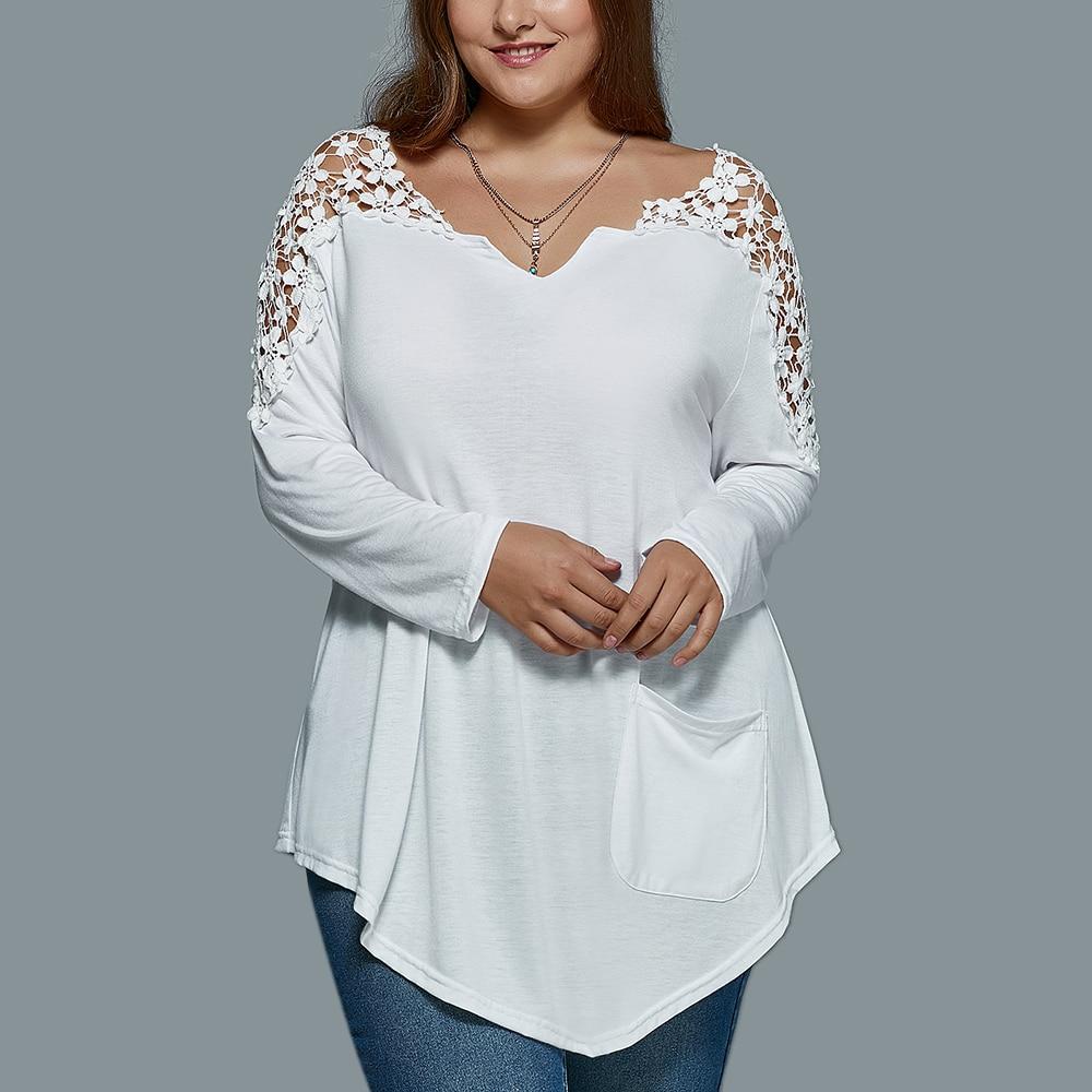 ZAFUL Women T Shirt Plus Size XL 5XL Lace Insert Long ...
