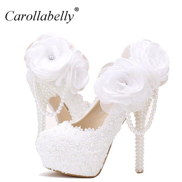 b91743cfc Lace flores branco pérola sapatos de noiva sapatos de plataforma de salto  alto fino com pingente
