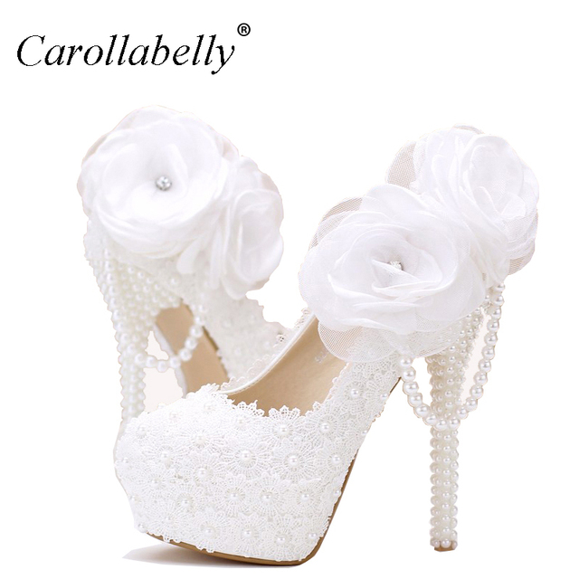 Lace pearl white flowers bridal shoes thin high heel platform shoes lace pearl white flowers bridal shoes thin high heel platform shoes with pearl pendant round mightylinksfo