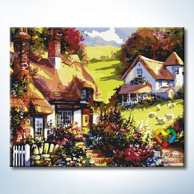 - cherry colored drawing diy digital oil painting landscape painting - 40 50