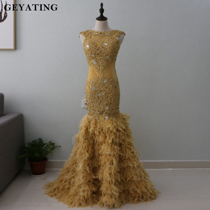 Vestido de baile 2019 Gold & Sliver Crystal Mermaid Feather Prom Dresses for Black Girls Backless Appliques Lace Evening Dress