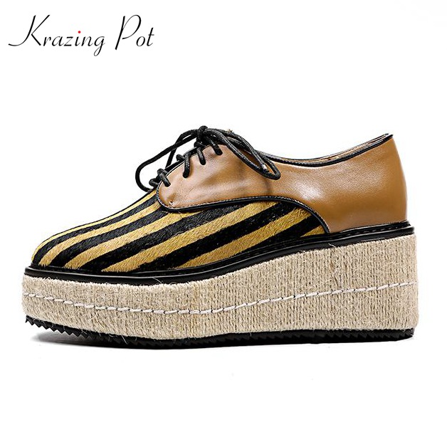 Krazing Pot new fashion big size brand spring shoes horsehair wedges women pumps round toe causal preppy style lace up shoes L16 xiaying smile woman pumps shoes women spring autumn wedges heels british style classics round toe lace up thick sole women shoes