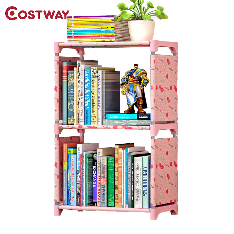 COSTWAY Fashion Simple Non-woven Bookshelves Two-layer Dormitory Bedroom Storage Shelves ...