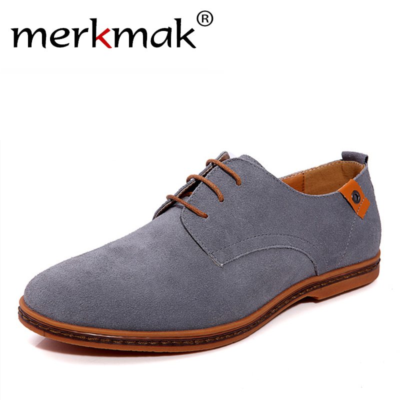 New 2018 Fashion Men Shoes   Suede     Leather   Casual Flat Shoes Lace-up Men's Flats for Man Rubber Outsole Driving Shoes Footwear