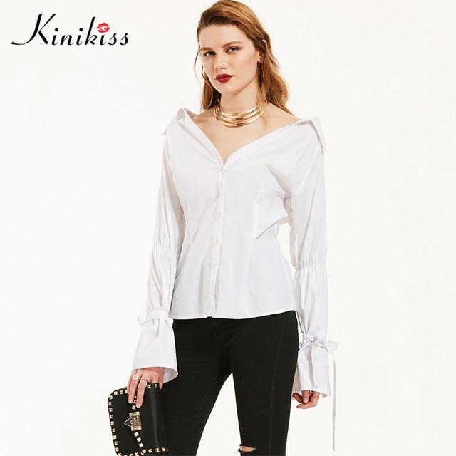 bc72d07bda7084 Kinikiss White Shirts Cotton Ladies Blouse Korean Sexy Lotus Root Flare  Sleeve Button V Neck Lapel Tops Women Fashion Shirts Top