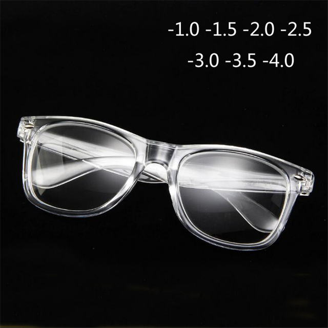 Finished Myopia Glasses Transparent White Plastic Frame Diopters Nearsight Glasses -1 -1.5 -2 -2.5 -3 -3.5 -4.0