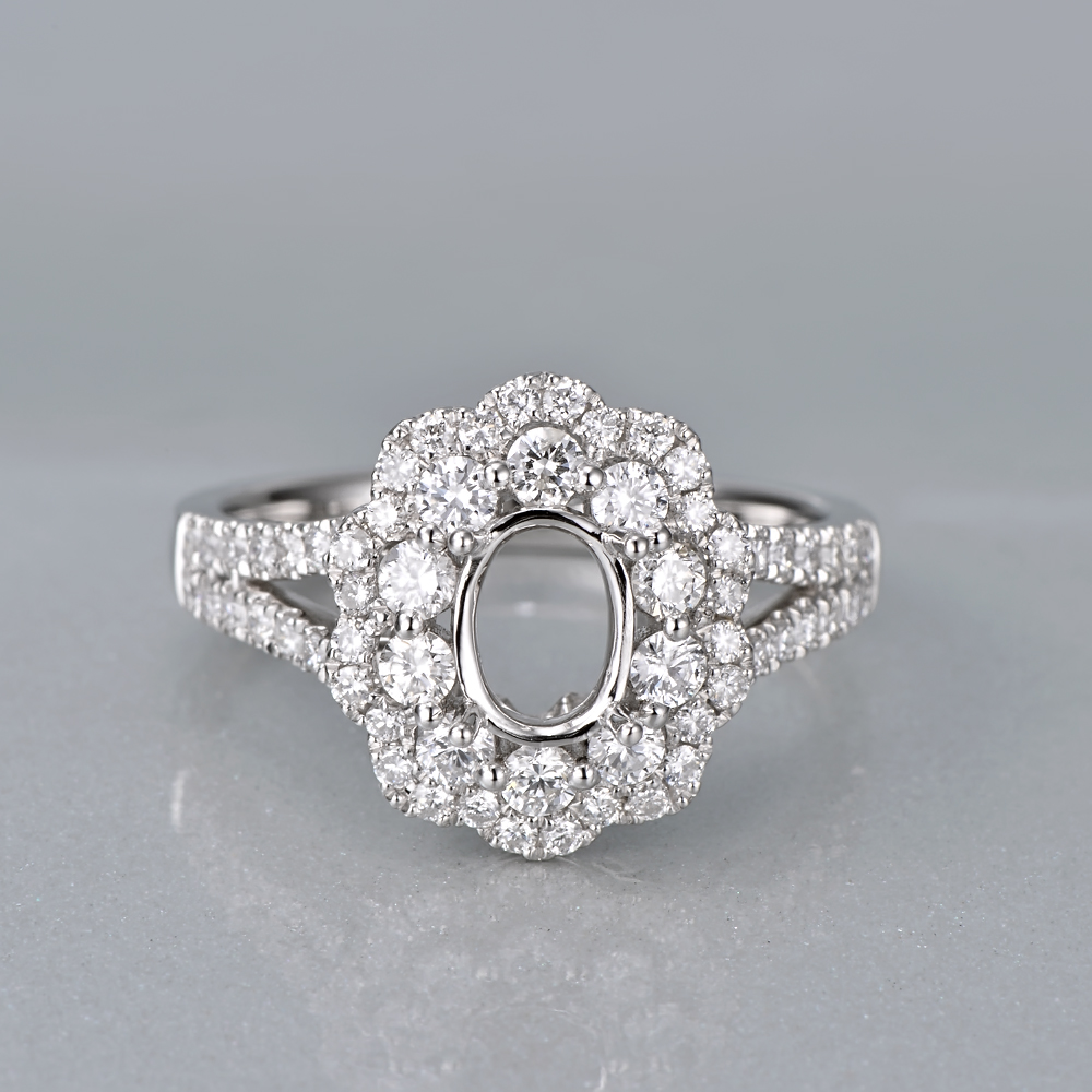 Caimao 14K White Gold Oval 5x7mm 0.93ct Natural Diamonds Engagement - Perhiasan bagus - Foto 3