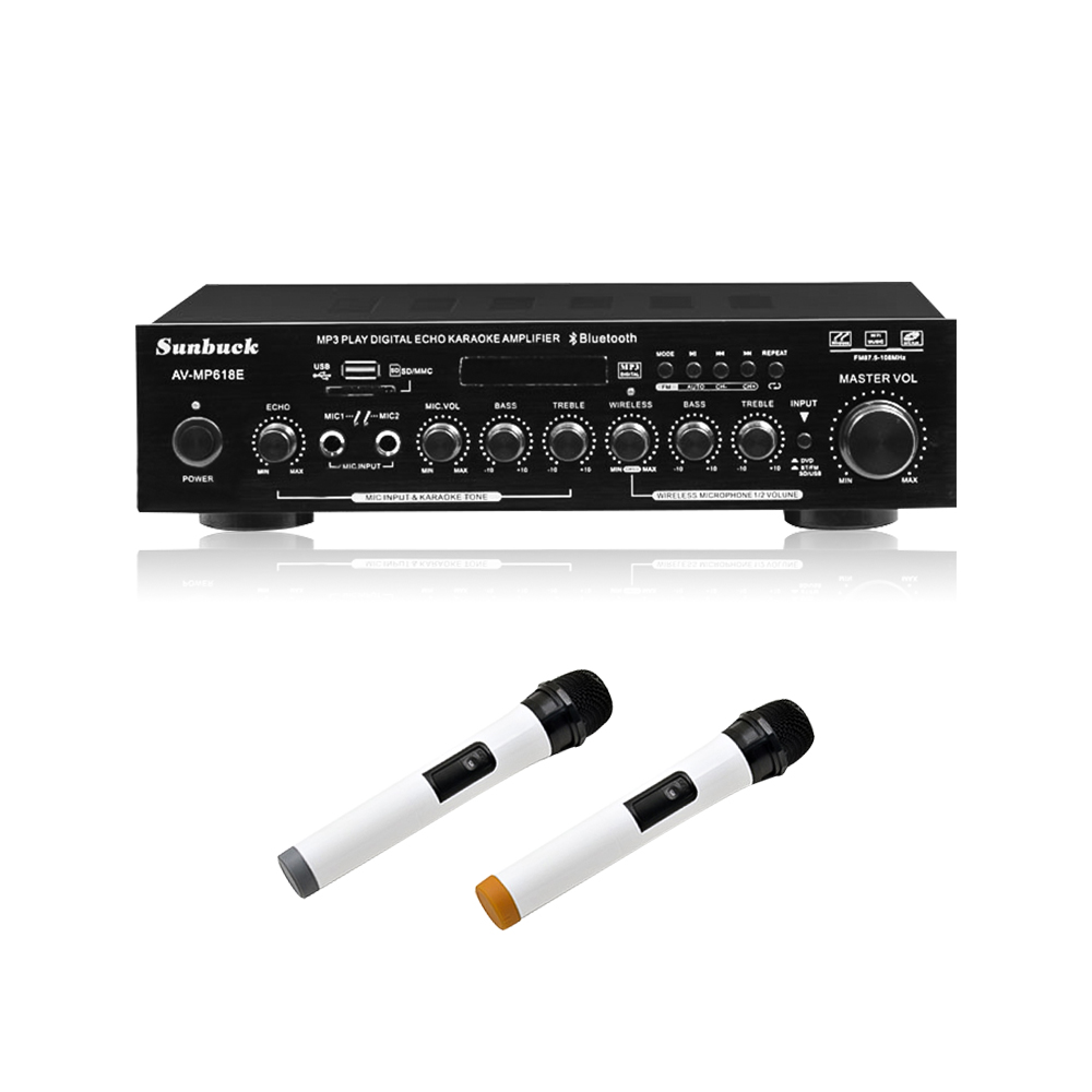 SUNBUCK 100W+100W HiFi 2.0 Wireless Microphone High Power Digital Amplifier Home Theater Karaoke Amplifier Audio Radio USB Amps shinco s 9008 home theater amplifier 5 1 audio high power digital amplifier