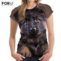FORUDESIGNS Cute 3D Animal German Shepherd Print Women Summer T Shirt Fitness O Neck Girls T