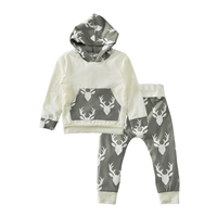 Autumn Baby Boy Clothing Set 2017 Cartoon Reindeer Pattern Hooded T Shirt Pants 2pcs Girl Boy