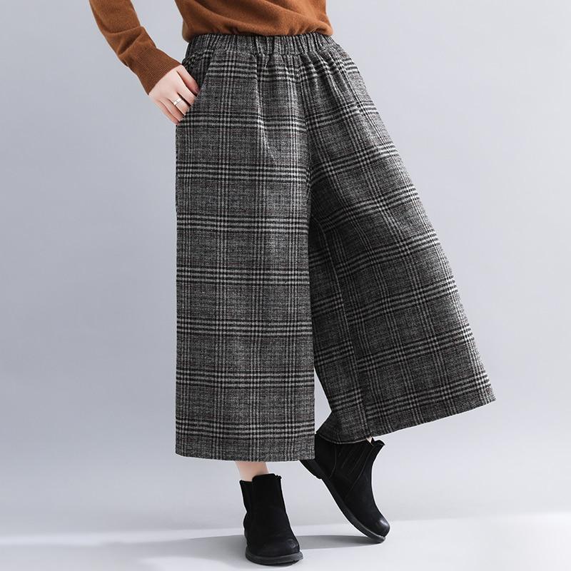 Plus Size Women Wide Leg Pants Autumn Harem Pants Plaid Casual Vintage Korean 2018 Oversize New Elastic Waist Woolen Pants 2
