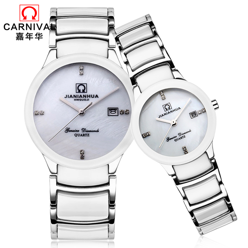 High end Couple watch CARNIVAL fashion Quartz watch with imported Japan movement,Calendar,Ceramic band,Couple watches for lovers 197 quartz watch with diamond shaped mirror for couple