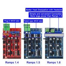 Ramps 1.6 painel de controle de expansão, com dissipador de calor atualizado rampas 1.4/1.5 para arduino placa para impressora 3d