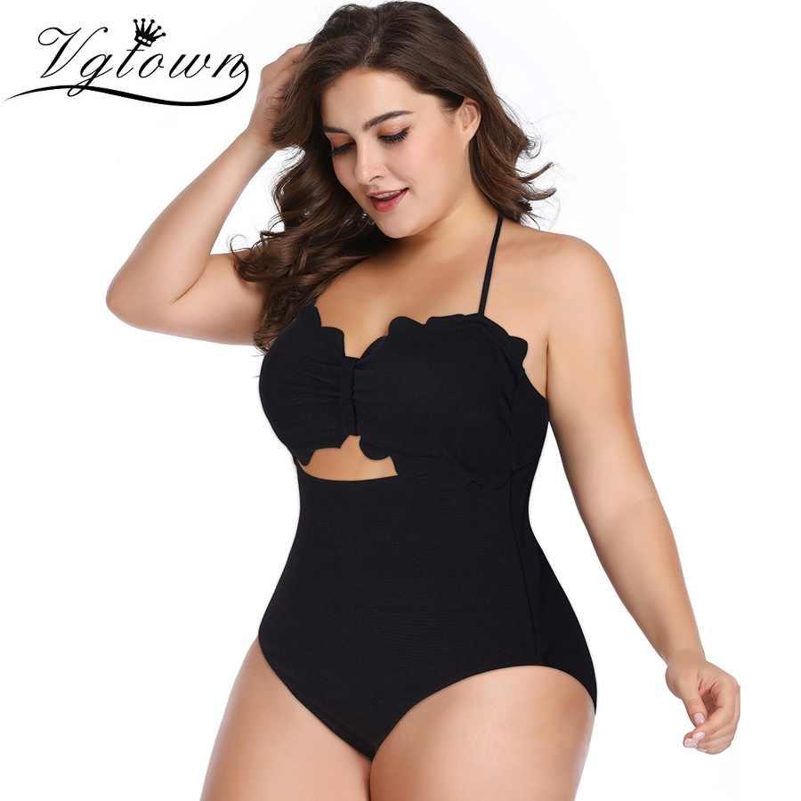 Слитные костюмы размера плюс для большого бюста, сексуальный женский купальник, купальный костюм с лямкой через шею, бандажный купальник, Одноцветный Монокини, бикини, летний Bea