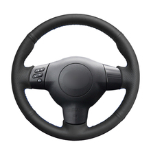 El dikişli siyah PU suni deri araba direksiyon kılıfı Toyota RAV4 Celica Matrix MR2 Supra Voltz Caldina MR S