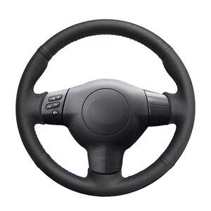 Image 1 - El dikişli siyah PU suni deri araba direksiyon kılıfı Toyota RAV4 Celica Matrix MR2 Supra Voltz Caldina MR S