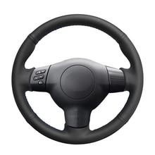 Hand stitched Black PU Artificial Leather Car Steering Wheel Cover for Toyota Corolla 2003 2006 Caldina RAV4 Wish Scion tC xA xB