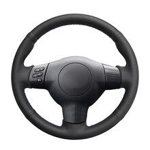 יד תפור שחור PU מלאכותי עור רכב הגה כיסוי עבור טויוטה קורולה 2003 2006 Caldina RAV4 מאחל scion tC xA xB