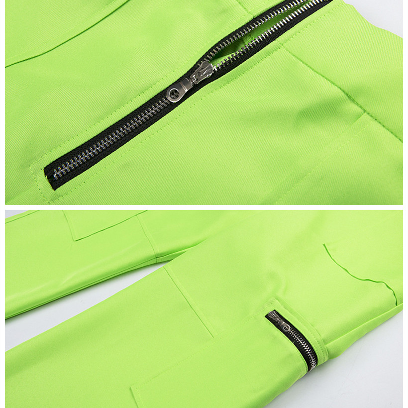 829bb2c5f3b9 BOOFEENAA Zipper Pockets Neon Green Wide Leg Cargo Pants Women ...