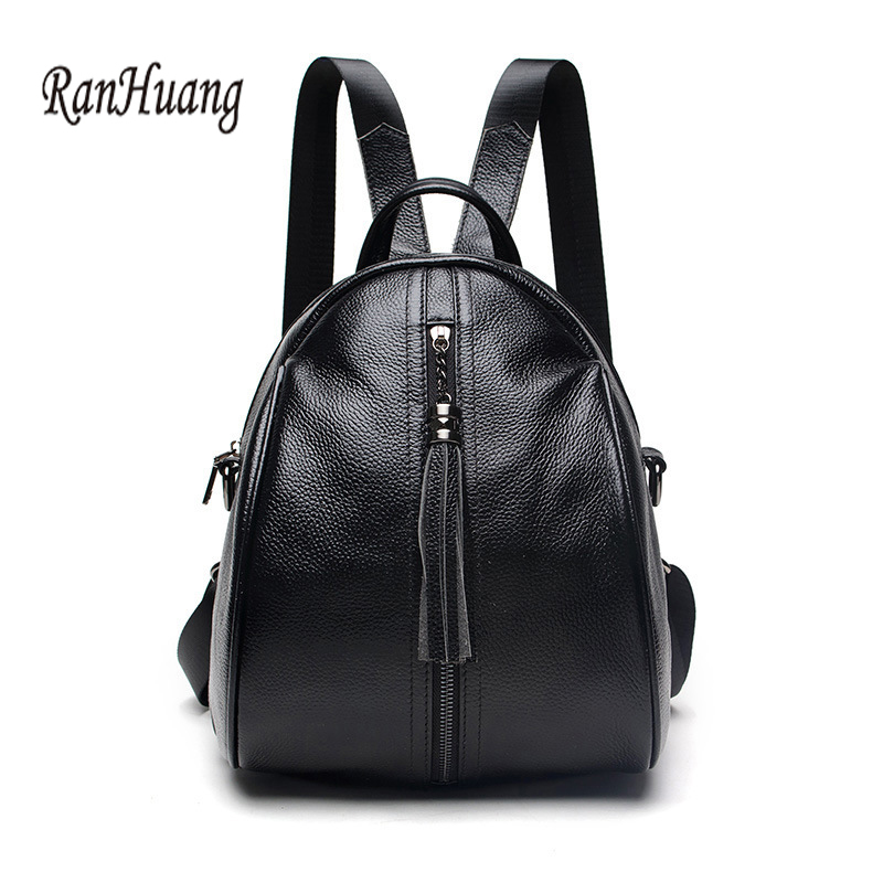 RanHuang New 2018 Women Genuine Leather Backpack Small Fashion Backpack School Bags For Teenagers Girls Black Travel Bags A1172 2016 korean girls cute genuine leather backpack school bags for teenagers bags bolsas travel backpack bag for women free gift