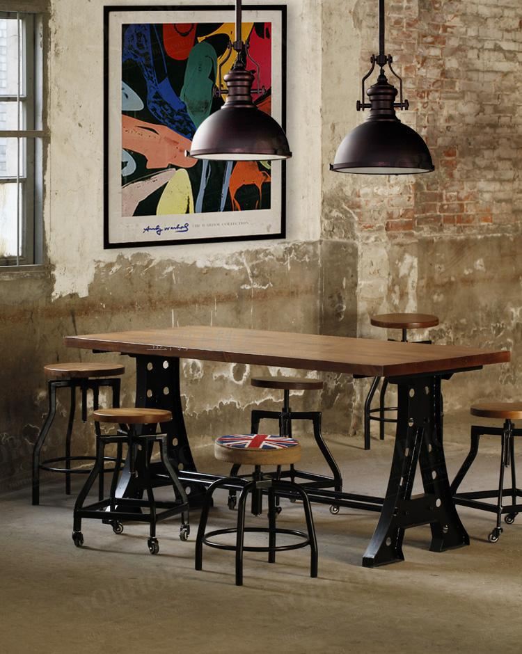 solid wood furniture wood vintage wrought iron tab american retro style industrial furniture desk