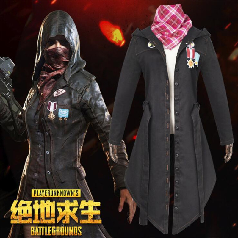 Game PUBG Coat Trench Playerunknown's Battlegrounds Cosplay Costumes Black Overcoat