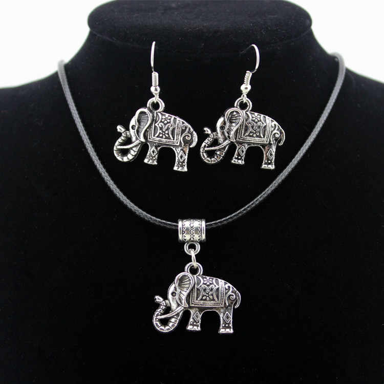 2017 New Arrival Beads Jewelry Set Top Fashion Sale The Small Elephant Alloy Necklace Earrings Of Two Environmental Material