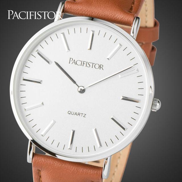 PACIFISTOR Mens Relógios Top Marca de Luxo Ultra Slim Amantes Negócio Pulseira de Couro Relógio De Quartzo Relógios Relogio masculino