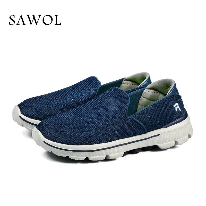 Sawol Marca Homens Sapatos Casuais Homens Sapatos Mocassins Masculinos Respirável além de Grande Tamanho Dos Homens Das Sapatilhas Flats Slip On Slipony Com caixa