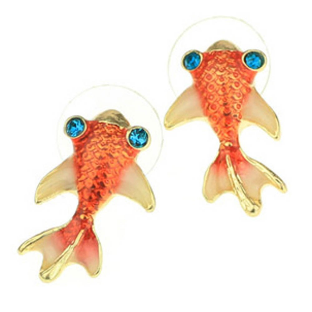 1 Pair Cute & Lovely Goldfish Glazed Earrings Charming Fine Jewelry Drop Shipping 17MM EAR0120
