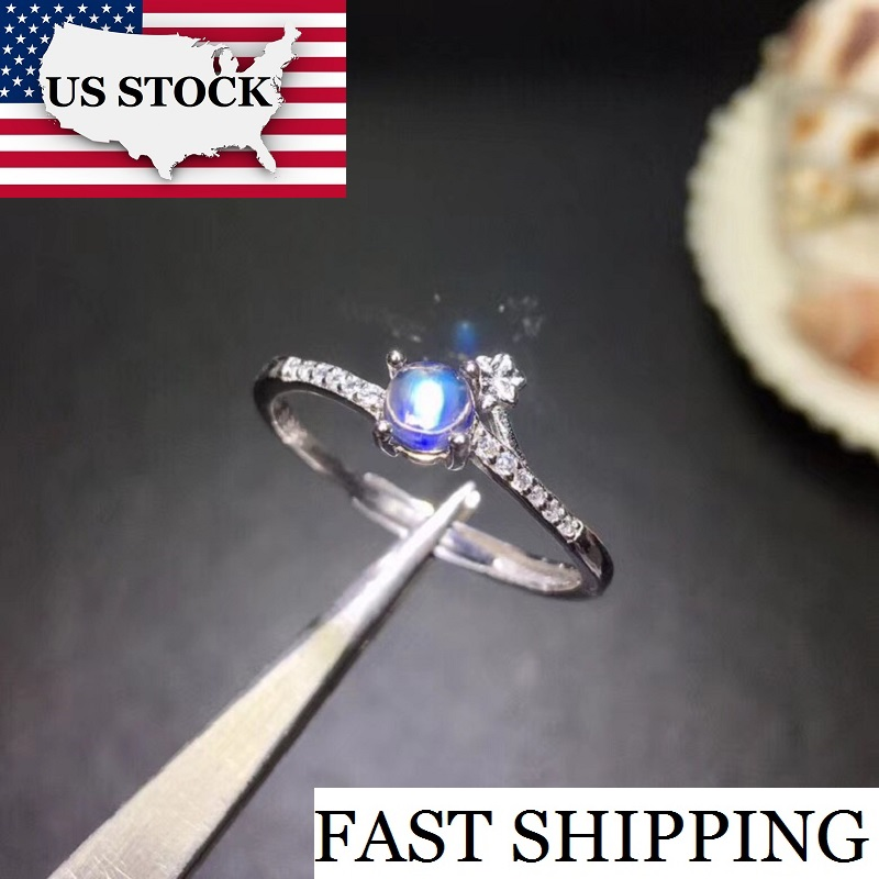 Uloveido Natural Moonstone Gemstone Ring, 925 Sterling Silver Ring for Women, Blue Stone Engagement Wedding Ring 28% off FJ263Uloveido Natural Moonstone Gemstone Ring, 925 Sterling Silver Ring for Women, Blue Stone Engagement Wedding Ring 28% off FJ263