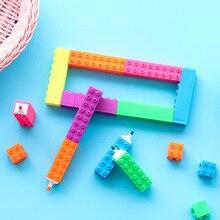 50pcs/set Party Favors Building Blocks Highlighter Creative Childrens Products Puzzle Square Shape Marker Pen